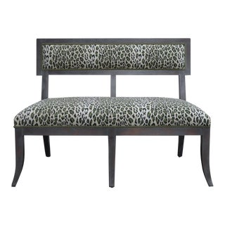 Gray Dining Banquette in Green Leopard For Sale