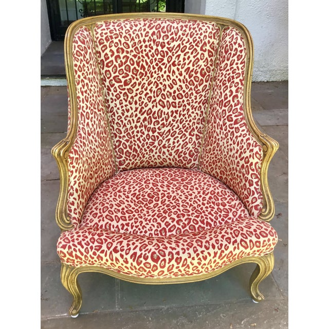 Wood 1940s Louis XV Style French Accent Chair Upholstered in Red Leopard Fabric For Sale - Image 7 of 8
