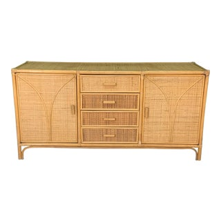 Woven Rattan Tiki Style Dresser For Sale