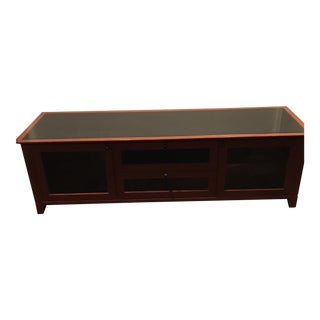 Contemporary Wood & Black Glass Component Cabinet For Sale