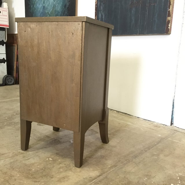 Metallic Gold Nightstand With Floral Linen Panel For Sale - Image 9 of 10