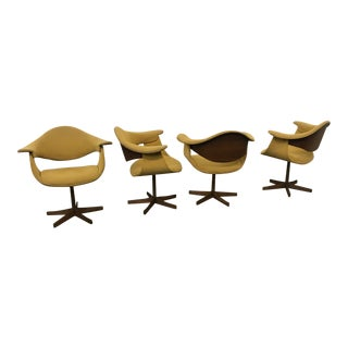 Mid-Century Modern Kodawood Bentwood Swivel Arm Chairs - Set of 4 For Sale