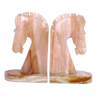 Mid-Century Onyx Stallion Bookends