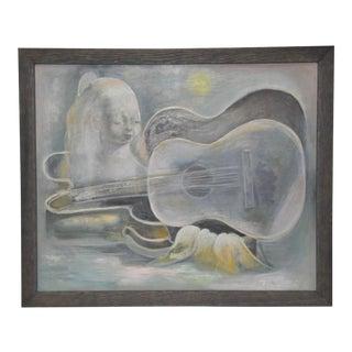 Nura Ulreich (American, 1899-1950) Musical Dreamscape Original Oil Painting C. 1930s For Sale