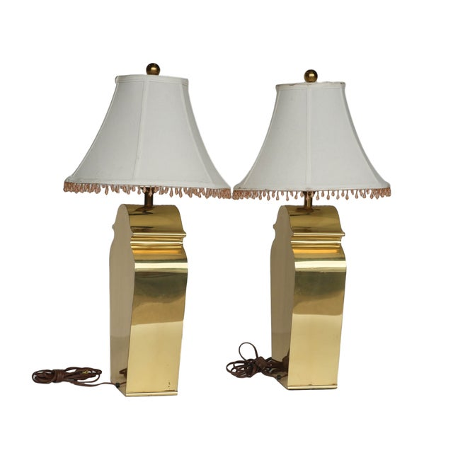 Mid-Century Chapman Brass Table Lamps - A Pair - Image 4 of 10
