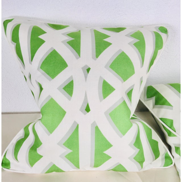 Green Modern Cotton Geometric Pillows – a Pair For Sale - Image 8 of 10