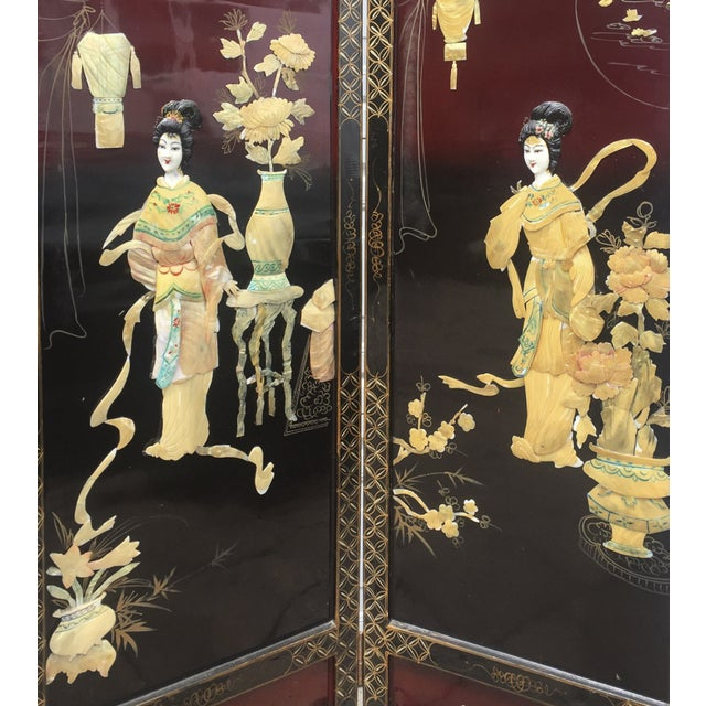 Asian Lacquered Mother of Pearl Screen For Sale - Image 4 of 8