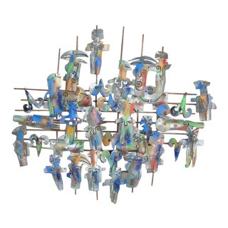 Mid Century Wall Sculpture. For Sale
