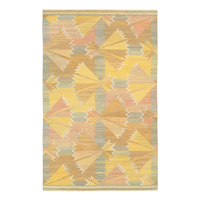 1940s Swedish Flat Weave Rug by Barbro Nilsson- 5′3″ × 8′4″ For Sale