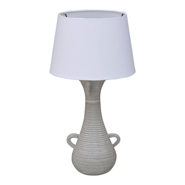 Chic Gourd Shaped Table Lamp With Custom White Parchment Shade For Sale