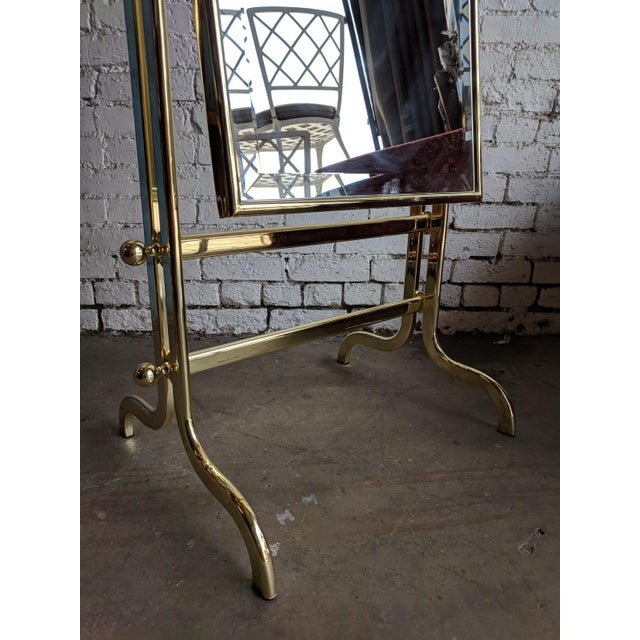 Hollywood Regency Vintage Shiny Brass Dressing Mirror For Sale - Image 3 of 6
