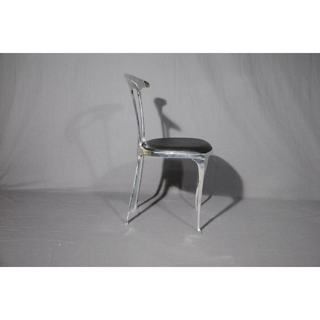 Polished Aluminum & Leather Thinline Chairs - Set of 4 - Image 2 of 4