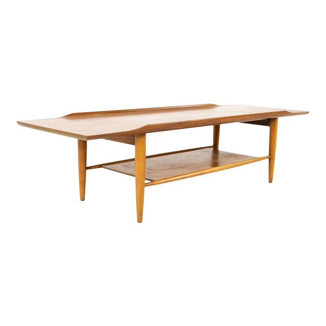 Grete Jalk Style Mersman Mid Century Surfboard Mahogany Coffee Table For Sale