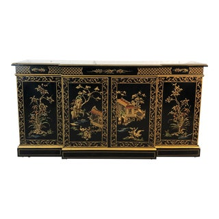 Drexel Furniture Asian Scene Lacquered Sideboard For Sale