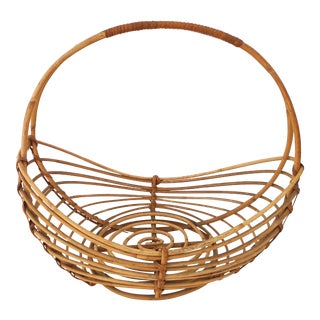 1960s Mid-Century Bamboo Handle Basket For Sale