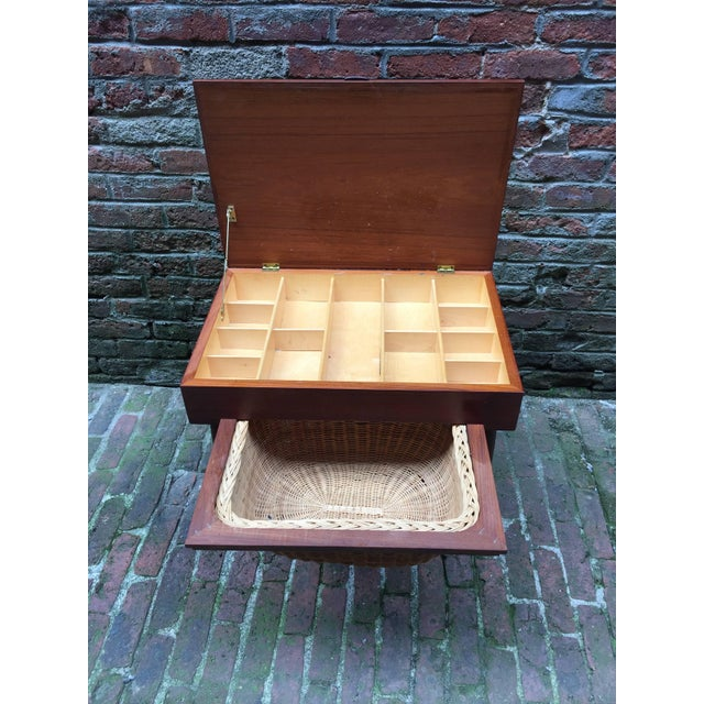 Mid-Century Modern Ejvind Johansson Vitre Danish Teak Sewing Stand For Sale - Image 3 of 9