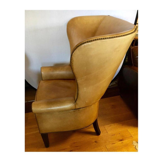 Tan Ralph Lauren Signed Large Leather Nailhead Wingback Chair For Sale - Image 8 of 11