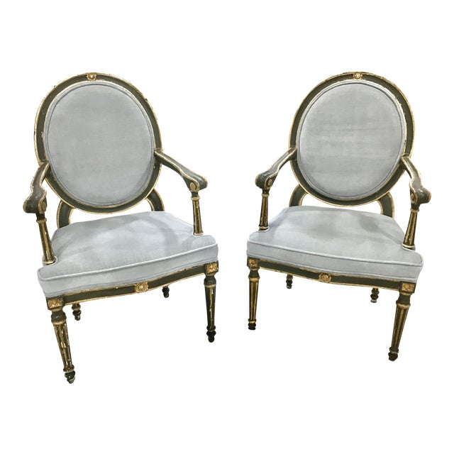 Pair of 18th Century Italian Neoclassic Armchairs For Sale