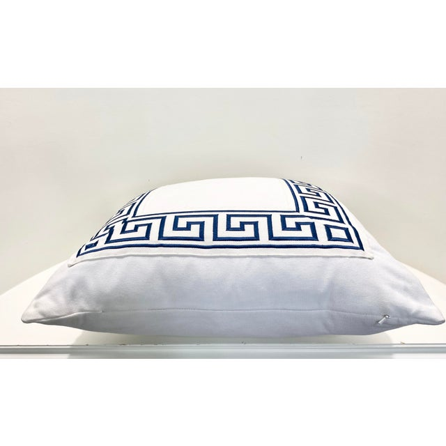"""Contemporary Contemporary Square Custom Made White With Navy Greek Key Trim Pillow - 21"""" For Sale - Image 3 of 7"""