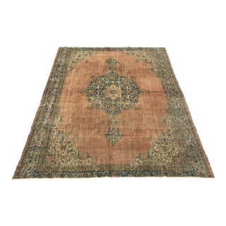 1920s Antique Turkish Salmon/Coral Rug - 7′3″ × 10′2″ For Sale
