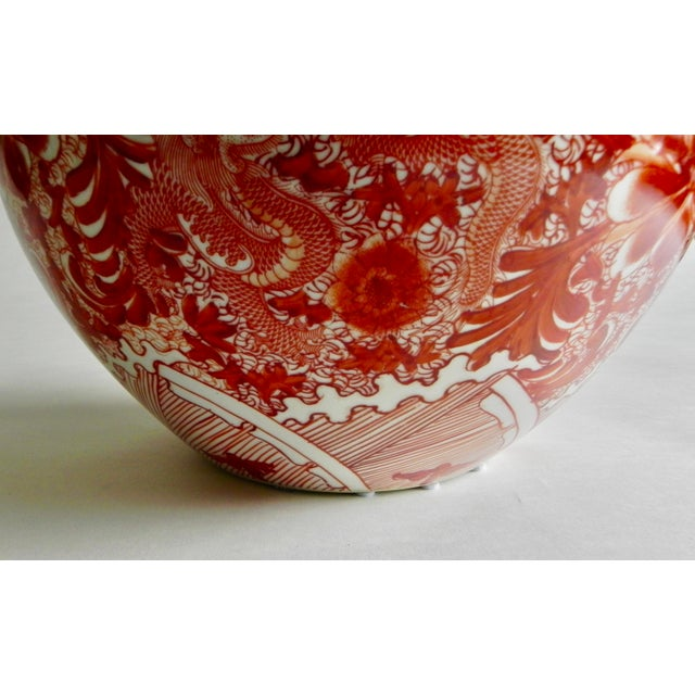 Large Orange Vase With Long Neck, Dragon and Floral Scroll For Sale - Image 4 of 6