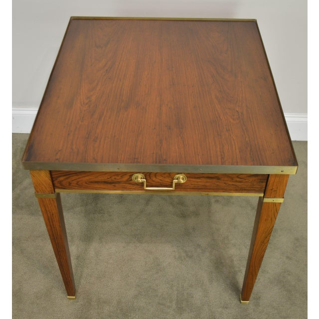 Metal Baker Vintage Regency Directoire Style Rosewood One Drawer Side Table For Sale - Image 7 of 13