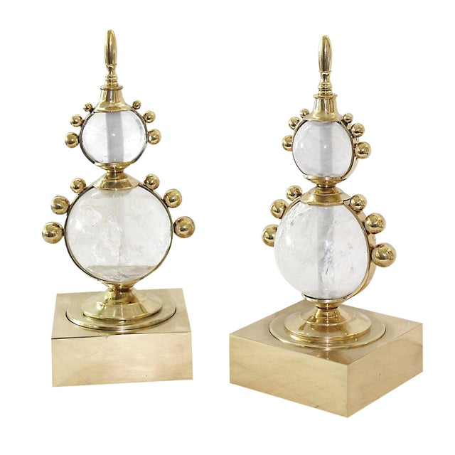 Rock Crystal & Brass Decorative Tabletop Accessory For Sale