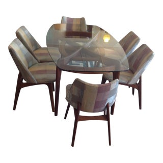 Adrian Pearsall Glass Dining Table & 6 Chairs For Sale