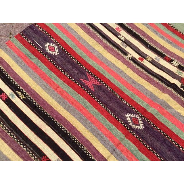 1960s Vintage Striped Turkish Kilim Rug For Sale - Image 5 of 11