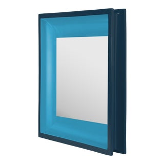 Square Floating Mirror in Teal / Horizon Blue - Jeffrey Bilhuber for The Lacquer Company For Sale