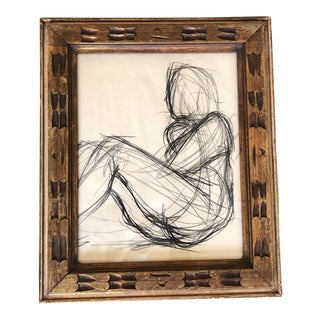 Vintage Original Abstract Charcoal Nude Drawing 1950's Carved Wood Frame For Sale