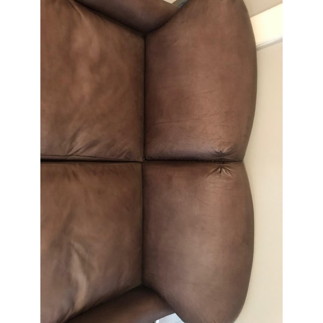 Traditional Traditional Two Seat Leather Sofa For Sale - Image 3 of 6
