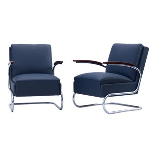 1930s Fn 24 by Mücke & Melder Blue Art Deco Tubular Steel Cantilever Armchairs- A Pair For Sale
