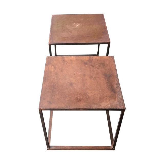Industrial Frame Square Side Tables - Pair - Image 1 of 7