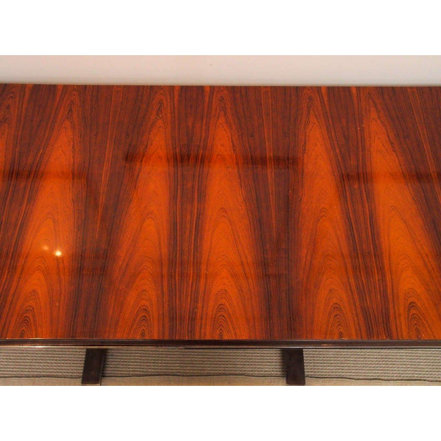 Rosewood & Steel Console For Sale - Image 5 of 11