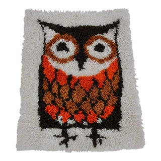 Vintage Owl Hooked Rug / Wall Hanging For Sale