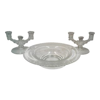 Vintage Console Bowl and Double Candle Holders -Set of 3