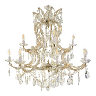 1940s Italian Antique Baroque Revival Crystal 12-Light Gilded Chandelier For Sale
