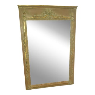 French Painted Parcel Gilt Trumeau Mirror