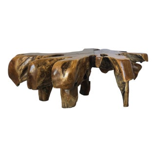 Organic Modern Solid Teak Live Edge Free Form Coffee Table For Sale