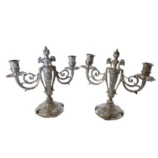 Antique Victor Saglier Art Nouveau Silver Plate Candelabras For Sale