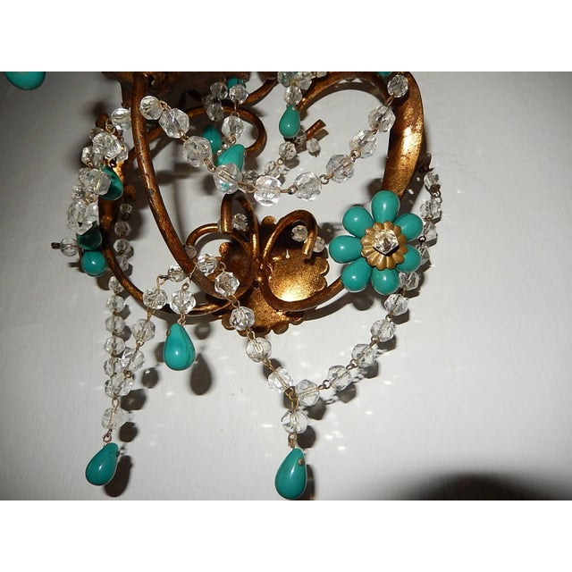 French Turquoise Green Murano Beads Rock Crystal Swags Sconces For Sale - Image 4 of 10