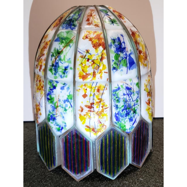 Mid 20th Century American Leaded Confetti Glass Paneled Lamp Shade For Sale - Image 4 of 8