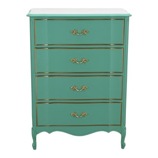 French Provincial Chest of Drawers, Pastel Green Lingerie Chest, Shabby Chic Chest of Drawers For Sale
