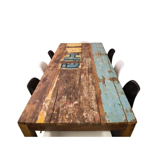 Asian Reclaimed Indonesian Fishing Boat Dining Table For Sale - Image 3 of 4