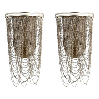Silver Chain Sconces - a Pair For Sale