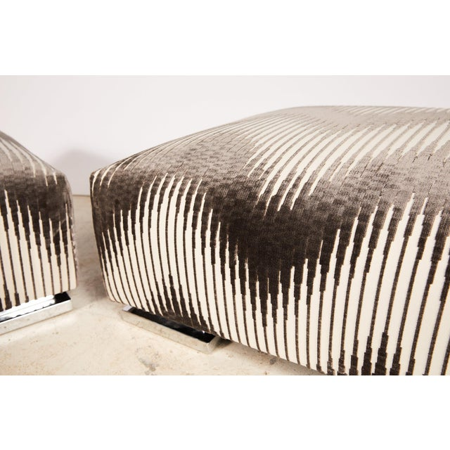 Pair of Midcentury Chrome Footed Ottomans in Jim Thompson Fabric For Sale - Image 9 of 13
