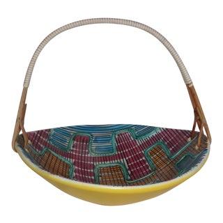 MCM Art Pottery Schramberger Majolic Fabric by Elfie Stadler Porcelain Wicker Handle Basket