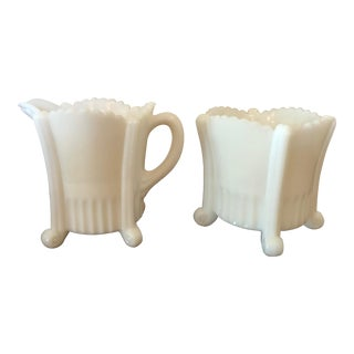 Vintage Mid Century Footed Milk Glass Creamer & Sugar Bowl- A Pair For Sale