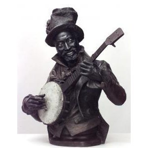 Metal American Victorian style (late 19th Cent) metal bust of black banjo player wearing top hat with flowers on oval base (signed P. CALVI) For Sale - Image 7 of 9